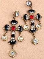 Free Shopping Fashion Cross earrings exaggerated female long section of large earrings jewelry