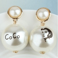 Free shopping 2014 new female fashion big pearl earrings exaggerated retro earrings jewelry