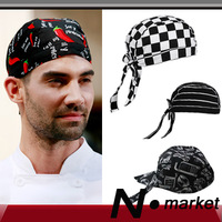 2014 New Pirates Chef Hat Checked Spicy Stripe Tableware Cotton Polyester Ribbon Kitchen Cap