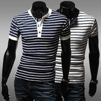2014 new classic stripe male basic shirt short-sleeve slim v-neck T-shirt men shirt