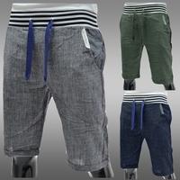 2014 brief screw linen pants Men casual loose pants breathable linen capris comfortable