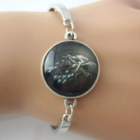 2014 New Game of Thrones Wolf Picture glass cabochon dome bracelets & bangles,antique silver metal cuff bangles free shipping