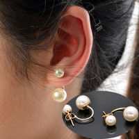 Hot sale 2014 New arrival Fashion Earring Vintage Brief Double Pearl Stud Earring Women Jewelry 3 Styles Top quality