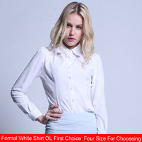 Female Long-Sleeved White Shirt Bottoming Slim Wear New Spring 2014 women OL Dress Shirt Simple And Formal Shirt  Free Shipping