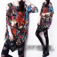 2014 spring summer fashion loose o-neck long design basic shirt abstract short-sleeve women's long design casual t-shirt