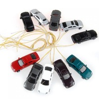 50Pcs High Quility  Flaring Light Painted Model Cars w/ Wires Scale OO 1 : 100 EC100-3