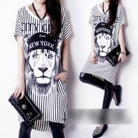 2014 spring and summer women's shitou stripe medium-long one-piece dress short-sleeve casual dress