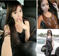 2014 new women' high quality fashion handsome leather vest crocodile skin masklike all-match basic TOP