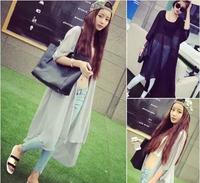 2014 spring and summer bf loose long design chiffon shirt chiffon sun protection clothing women's fashion outerwear female