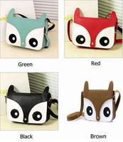 Free Shipping Fashion Style Retro Women Leather Animal Owl Shoulder Bags Clutches Cartoon Fox Print Flap Messenger Bag