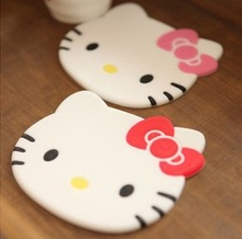 (10 Pcs/Lot) Good Quality Hello Kitty Cartoon Food Dish/Coffee/Cup Mat Coaster,Size 8.5*10.5CM(China (Mainland))
