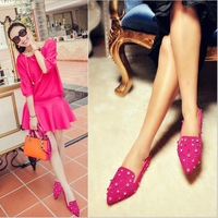 The new 2014 point of Europe and America Flat shoes rivets diamond light mouth with frosted for women's shoes