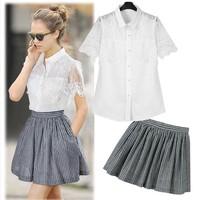 2014 Time-limited Promotion Freeshipping Turn-down Collar Flower Perspectivity Short-sleeve Hemp Cotton Skirt Set Female Su696