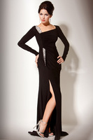 2014 New Fashion Sheath Long Sleeves Crystals  Prom Gown High Slit Floor-length Chiffon Party Dress Custom Made