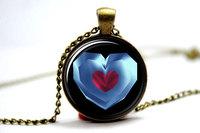 10pcs/lot legend of zelda ,zelda heart container Pendant Necklace, life Zelda heart container necklace, Blue glass necklace