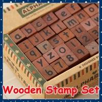 [FORREST SHOP] Wood Alphabet Stamp Set / DIY Scrapbooking Wooden Rubber Stamp / Vintage Stamps UP-8058