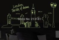 Big 160*70cm Fluorescent stickers manufacturers wholesale London Bridge Tower wall sticker Free shipping