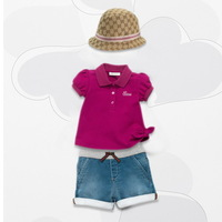 2014 New summer girls purple lapel short-sleeved t shirt + denim skirt suit,baby 2pcs clothing set