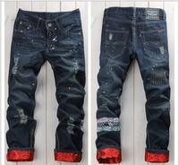 New 2014 men's fashion brand new hip-hop wild skateboard jeans men's jeans worn ink long denim pants men Free shipping