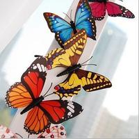 single-deck 7cm simulation PVC Vivid Multi Color Noctilucent Luminous Butterfly Fridge Magnet for Home Decor(10pcs/lot)