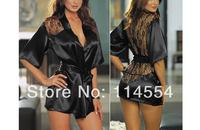 10sets/Lot Sexy Satin Black Lingerie Costume Fashion Pajamas Sleepwear 2016