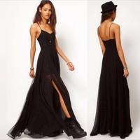 New Dress European and American trade with the big money Oversized floor skirt slit skirt long skirt chiffon dress straps