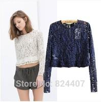 Women's Long Sleeve Lace Crop Top White Dark-Blue Brand Fashion Casual Short T Shirt blusas femininas Autumn Clothing Fall 2014