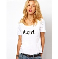 New 2014 Fashion Women T-shirt Plus Size Girl T shirt Letter Cotton Spring Summer Tee Tops  Clothing Sale C-ZN8021