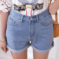 Korean loose Casual slim high waist shorts denim shorts summer women jeans plus sizeS-XXL