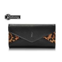 2014 New Arrival Leopard Print Matchwork Pu Envelope Purse,Money Clip, Three-fold Purse,Women's Wallet