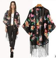 2014 Newest vintage women's tassel chiffion blouse elegant floral print cape European styleLadies kimono cardigan blouses tops