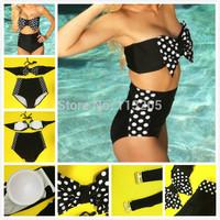 2014 Hot Sale Vintage Bikini Polka Dot High-Waisted Swimsuit with Bow Bandeau Top Swimwear Size SMLXL Free Shipping