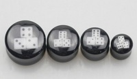 10pcs/lot free shipping mixed 5 sizes large gauge black body jewelry ear piercing uv acrylic dice ear plug