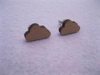 cute design little cloud wooden earrings stud