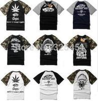 Famous brand van 2014 summer man t-shirts brand hip hop t-shirts skateboard sport women and men camouflage t shirt