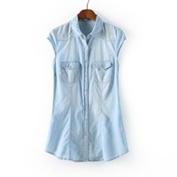 2014 summer fashion sexy camisas tunic jeans buttons tank tops european vest camis corset blouse tops,free shipping