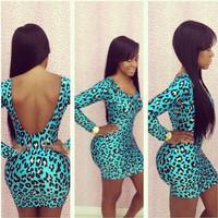 new 2014 women summer bandage dress leopard print long-sleeve backless women sexy bodycon dress Night club party dress YH043