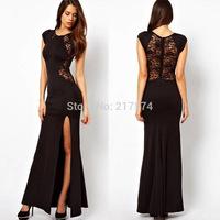 2014 Hot Selling Long Dress European and American trade dress slit dress Xialei Si behind lace dress sexy dress club dress