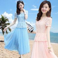 Fashion Elegant Slim Dress New 2014 Summer Spring Korean Short Sleeve Lace Women's Casual Long Vintage Plus Size Chiffon Dress