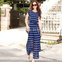 2014 Summer New Long Dress In Stock 5pcs/lot choke a small chilli new stripe lace short-sleeved chiffon dress Bohemian dress