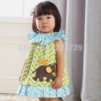 Good quality Baby Clothes girl's Moire Lotus leaf collar Cartoon elephant  Sleeveless Dress