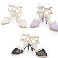 2014 new women sanslas shoes summer women's wedges pointed toe breathable female sandals rivet double hasp fashion women's shoes