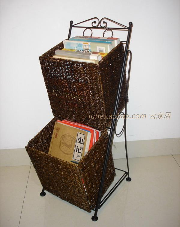 American style magazine storage rack folding cane straw rural non-wood magazine rack storage rack storage baskets books(China (Mainland))