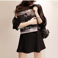 2014  new Fashion Dress In stock Korean version of the strapless dress sexy nightclub promoter backing thin chiffon skirt