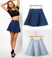 Fashion American Apparel  Denim Circle  Skirt Women High Waist Casual A line Skirt