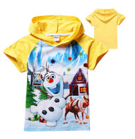 Snow and ice colors Snow treasure 2014 children hoodies Cotton short sleeve T-shirt free postage