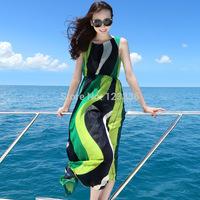 Free Shipping 2014 new summer women beach dress women round neck sleeveless dress