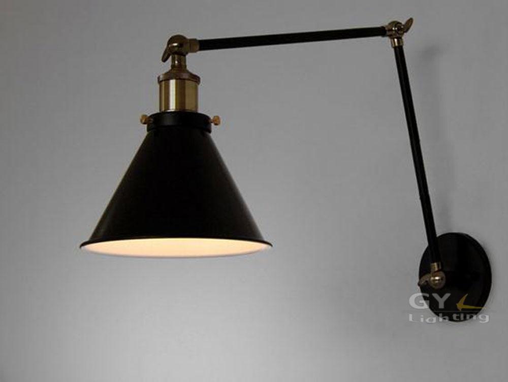 Art Deco Vintage Small Black Umbrella Lampshade Household Adjustable Wall Light Cafe Reading ...