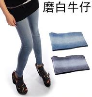 Wholesale Korean version of the anti- big yards jeans wear white seamless security printing pants leggings pantyhose female chil