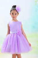 retail 4 styles Baby girl's dress kids Girl  sleeveless purple blue bow ball gown party wedding chiffon   princess dresses TuTu